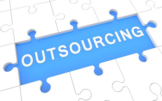 Outsourcing - puzzle 3d render illustration with word on blue background